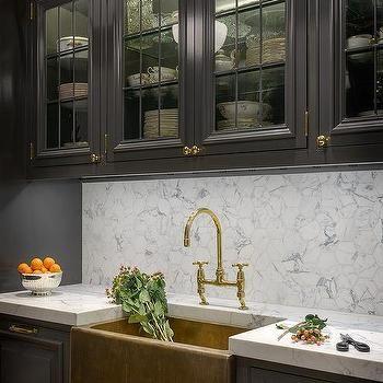 Black Kitchen With Brass Farmhouse Sink  1945 Kitchen  Pinterest Adorable Sink Kitchen Inspiration Design