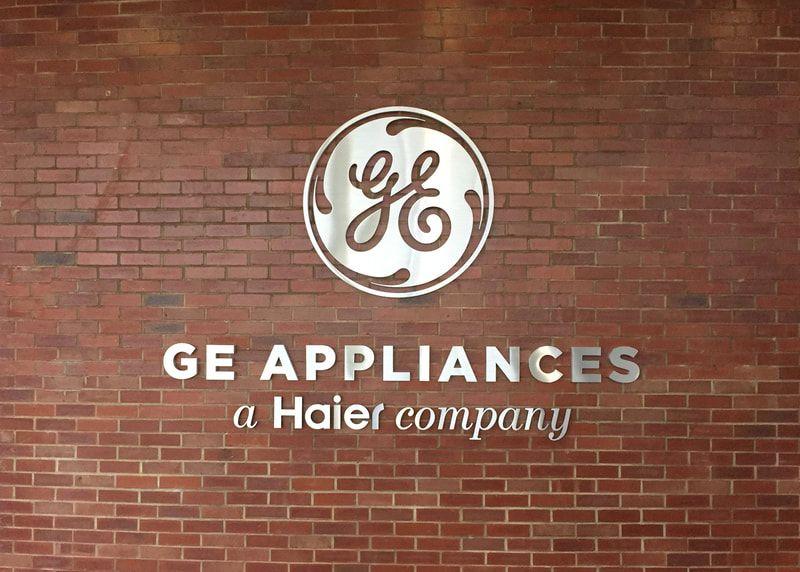 Interior Ge Appliances Metal Wall Mounted Logo Corporate Signs Ge Appliances Wayfinding