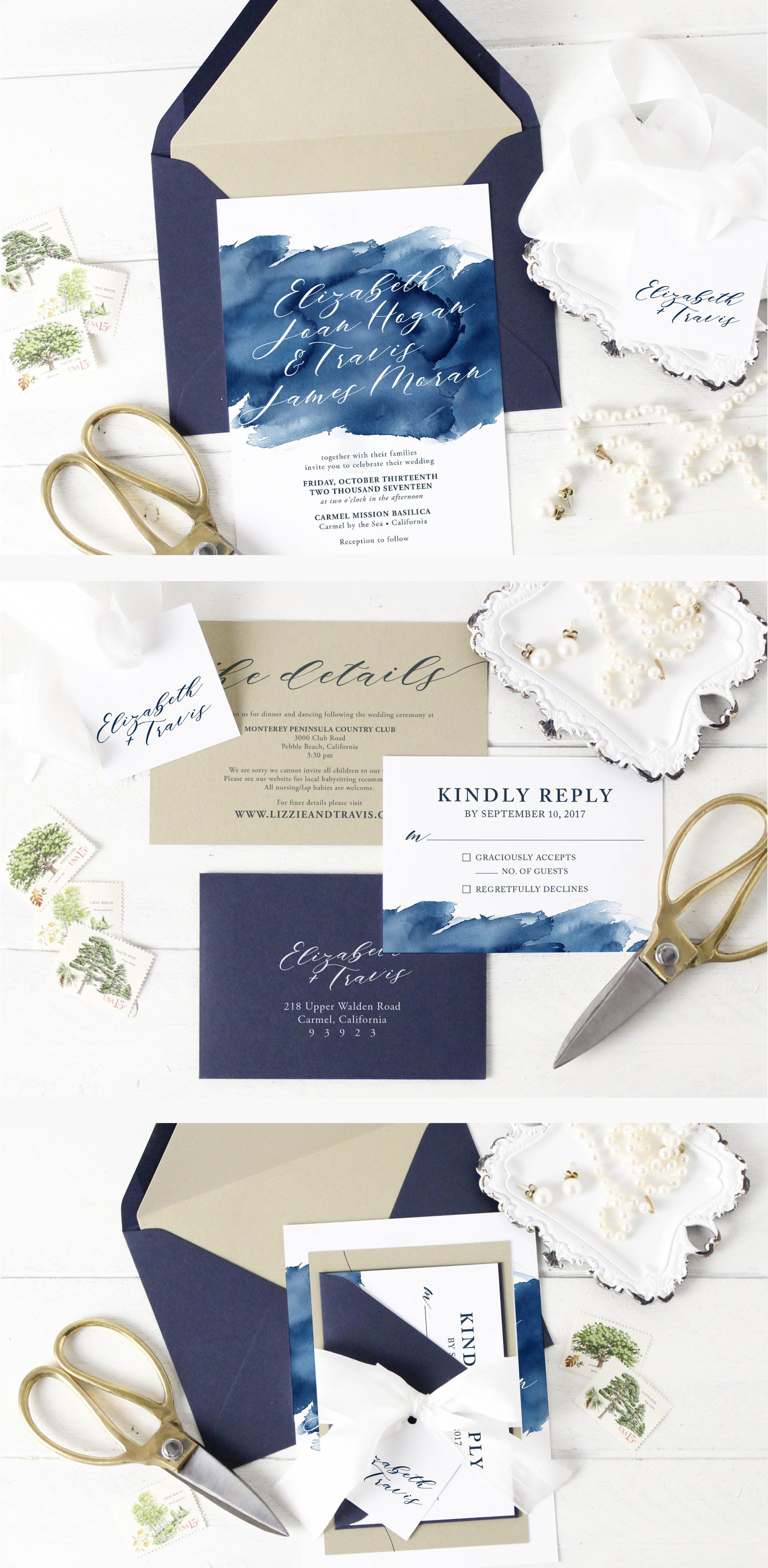 Elizabeth Wedding Invitation Suite Blue Watercolor Wedding Invitation Wedding Invitations Watercolor Blue Fine Wedding Invitations Wedding Invitation Suite