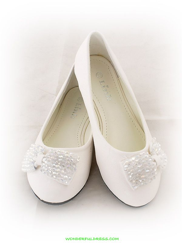 Flower Girl Dresses, Communion Dresses, Pageant Dresses - White Fancy  Ribbon Accented Girl Shoes