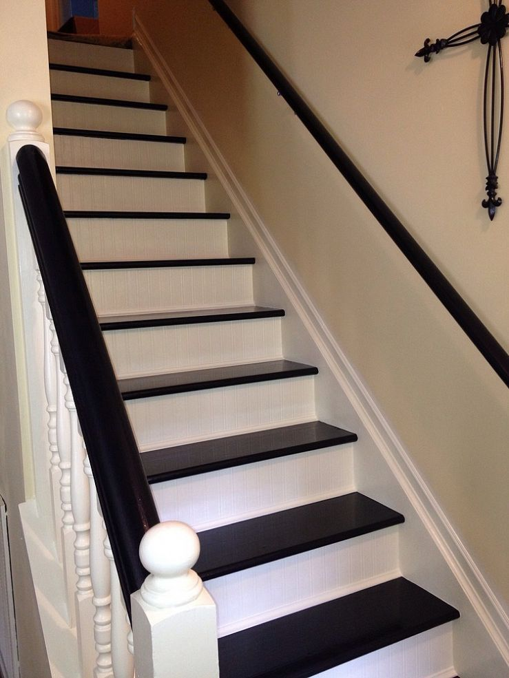 Interior stairs makeover stair makeover interior stairs for Cheap stair makeover