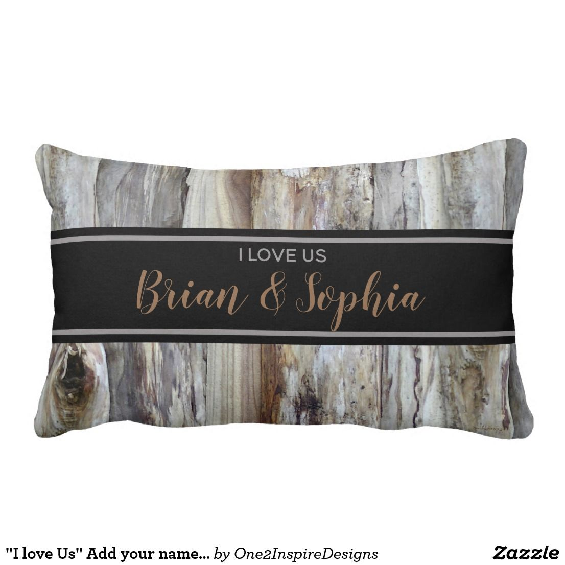 Quot I Love Us Quot Add Your Names Tree Bark Print Lumbar Pillow