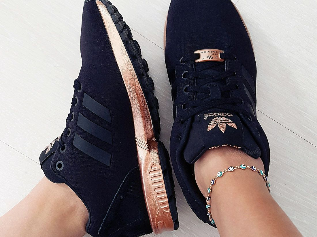 The Adidas ZX Flux Rose Gold | Black adidas shoes, Black and ...
