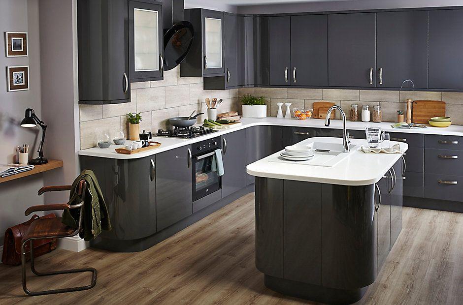 Kitchen Tiles B Q it santini gloss anthracite slab | diy at b&q | new house ideas