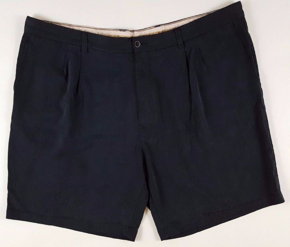 TOMMY Bahama SILK Shorts 44 BLACK Mens SIZE Relax PLEATED Pleat ...