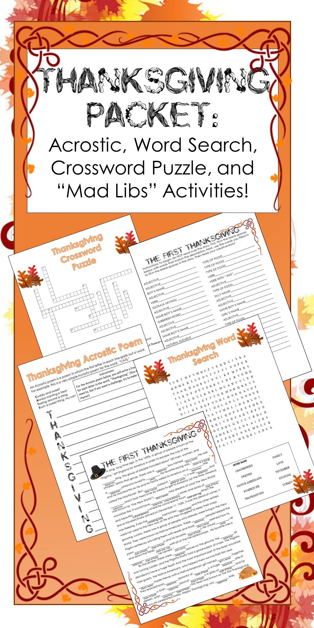 Thanksgiving Activities Crossword Puzzle Word Search