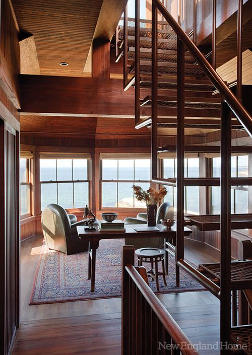 georgianadesign: Sneak up to the widow's watch. Classic Cape Cod home restored by Payne/Bouchier and Cheryl and C Katz Studio. New England Home.