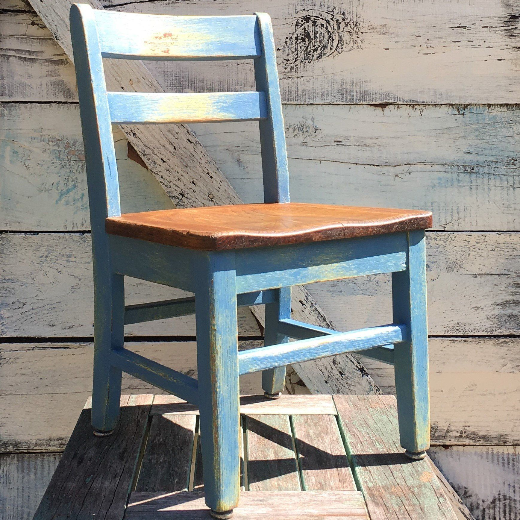 Vintage Little Child S Chair Distressed Blue Yellow Chalk