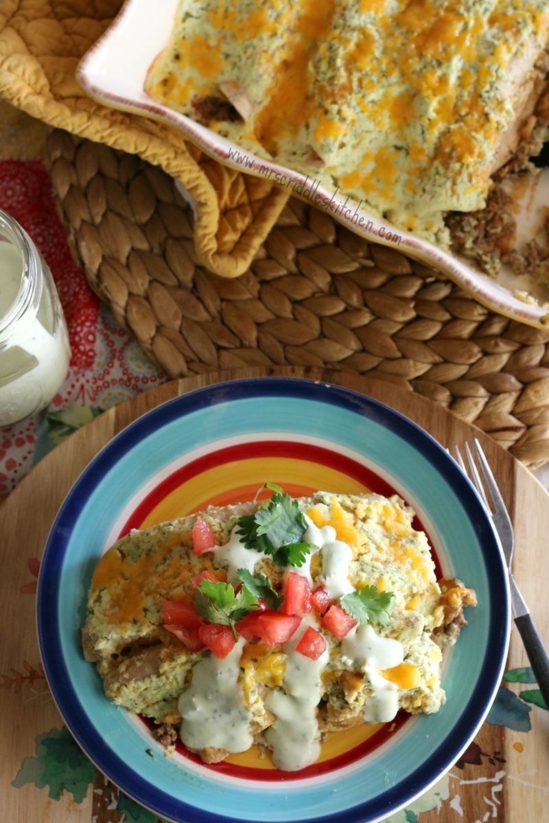 Sour Cream Beef Enchiladas Mrs Criddles Kitchen Made With Extra Cilantro And Kids Liked Filling As A Regular Soft Taco Sour Cream Enchiladas Creamed Beef Beef Enchiladas