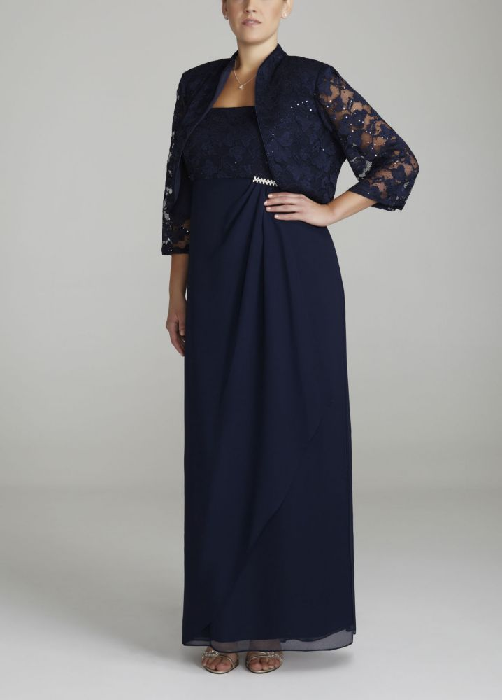 dc303657d0f Plus Size Lace and Chiffon Jacket Mother of Bride Groom Dress with Empire  Waist -