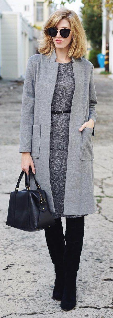 #winter #fashion /  Grey Coat + Dark Knit Dress