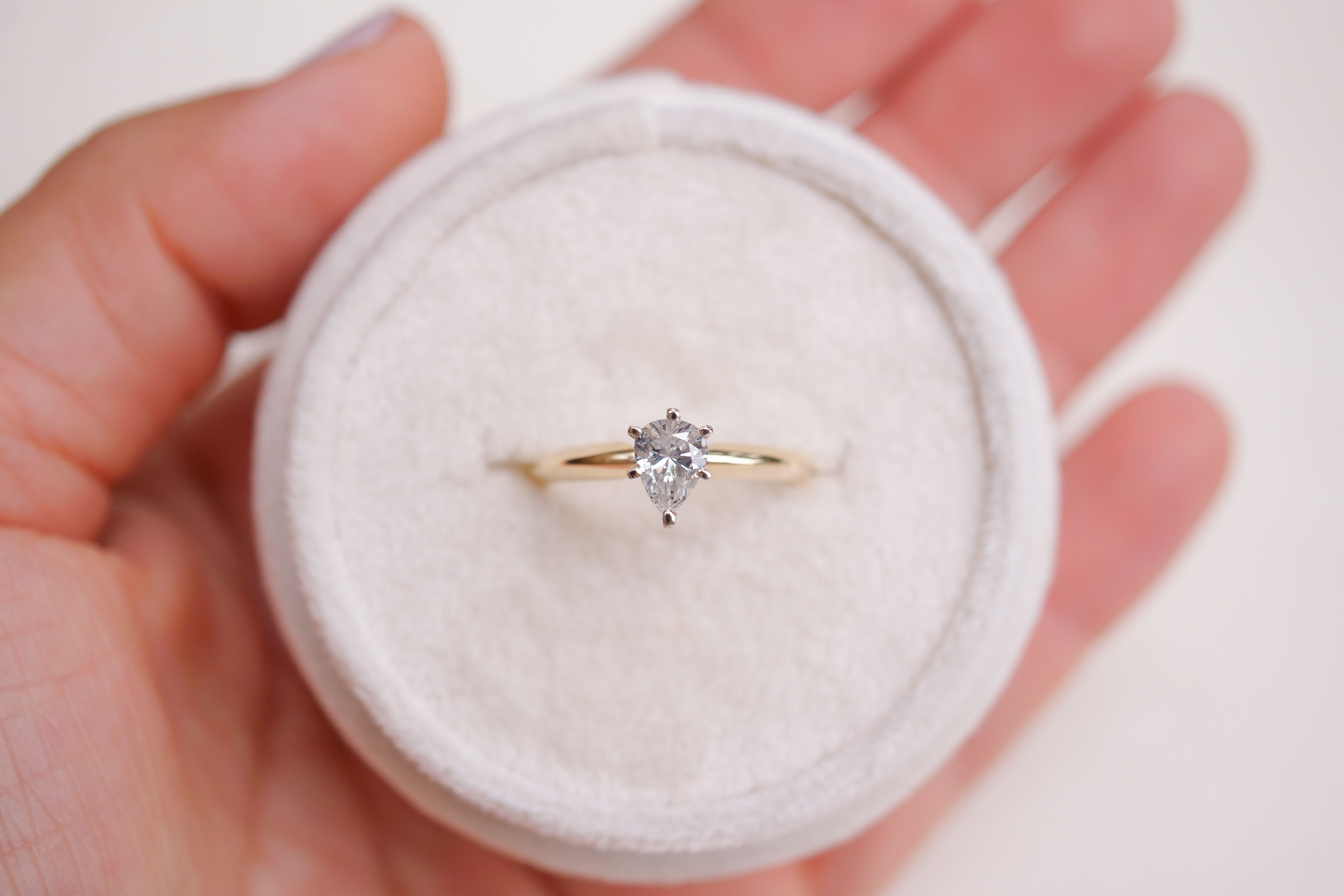 Pear shape diamond solitaire engagement ring in k yellow and white
