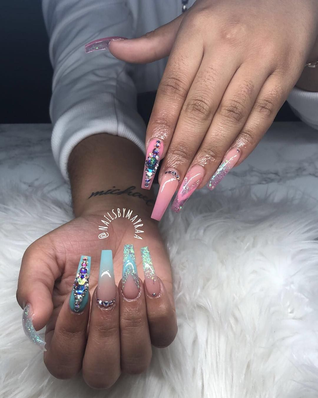 Pinterest Theleximariexo Gender Reveal Nails Long Acrylic Nails Nails