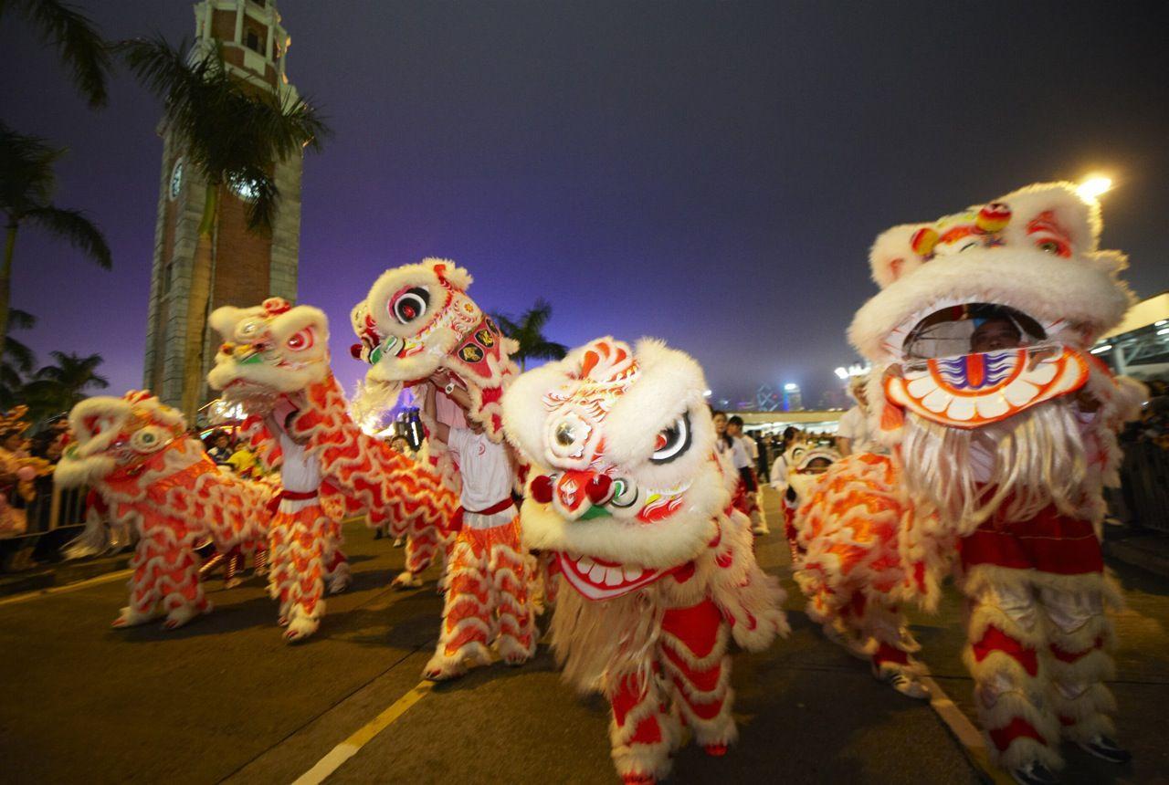Dragons at the New Year Night Parade Chinese new year