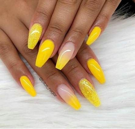 40 trendy nails acrylic coffin ombre yellow nails with