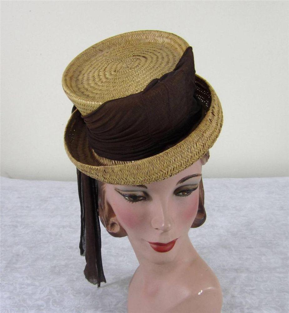 Vintage 40s tilt topper hat - natural straw with brown nylon trim