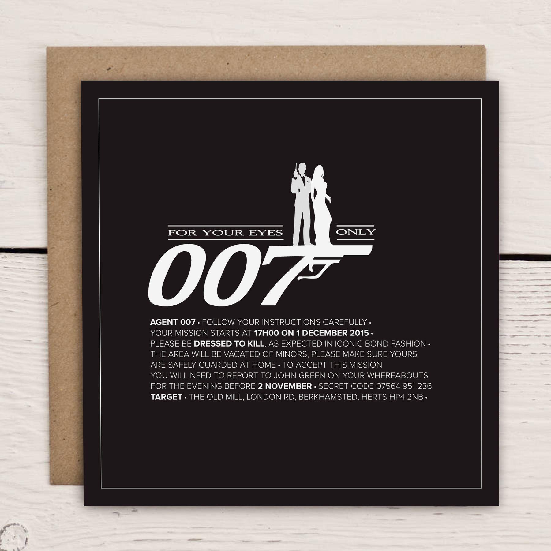 James Bond 007 Themed Invitation