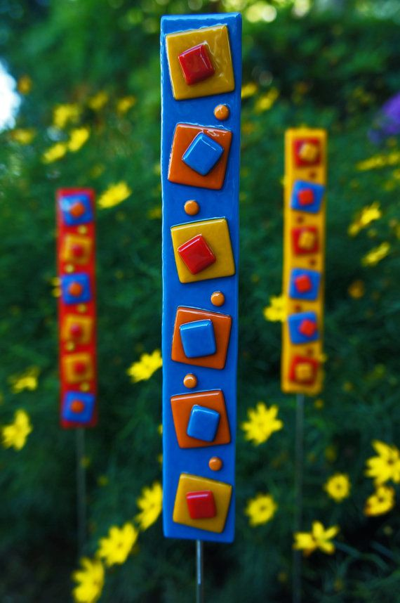 Bright colorful contemporary garden art stake adds color to your garden all  year long  Use. Bright colorful contemporary garden art stake adds color to your
