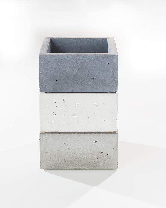 Small Grey Concrete Box Minimalist Home Decor By INSEKDESIGN W A N T Concrete Crafts