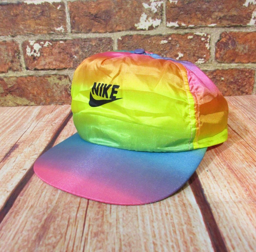 5439dda825 AS IS - VTG Nike Tie Dye Rainbow Neon Snapback Hat Cap RARE Pink Yellow  Nylon