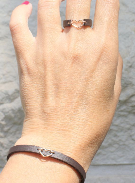 Photo of Skinny Adjustable Leather Bracelet-  Heart leather bracelet – Rose Gold and leather jewelry, boho bracelet, bracelets for women