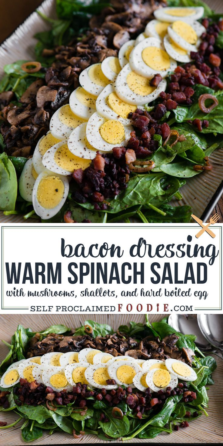 Photo of WARM SPINACH SALAD WITH BACON DRESSING