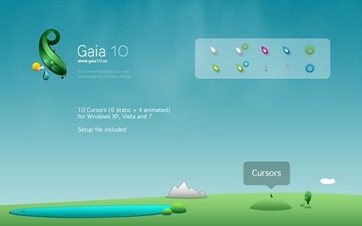 Click to download these Gaia10 cursors  | Windows 7 Cursors