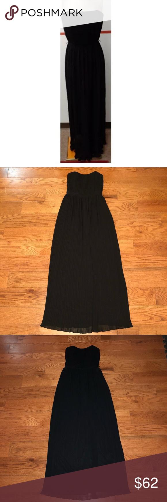 Dessy collection black strapless pleated dress diamond dress