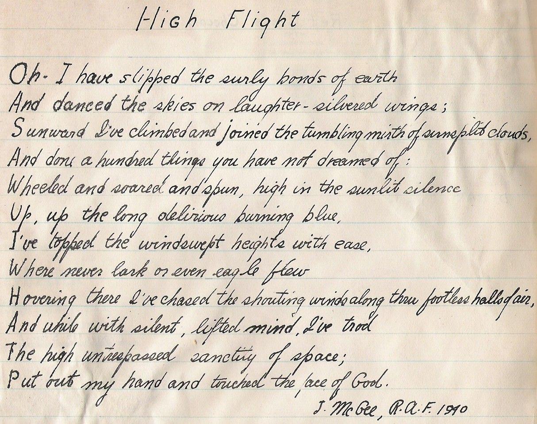 High Flight Poem written by a WWII pilot months before he died ...