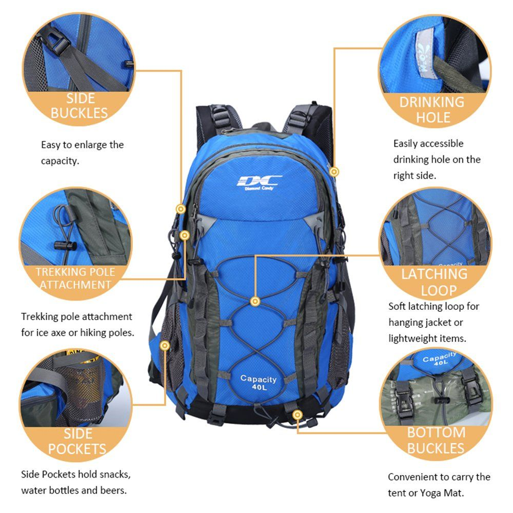 7ee05dc06e Diamond Candy Hiking Backpack 40L Waterproof Outdoor Lightweight Travel  Backpacks for Men and Women with Rain Cover Bag for Mountaineering Camping  Climbing ...