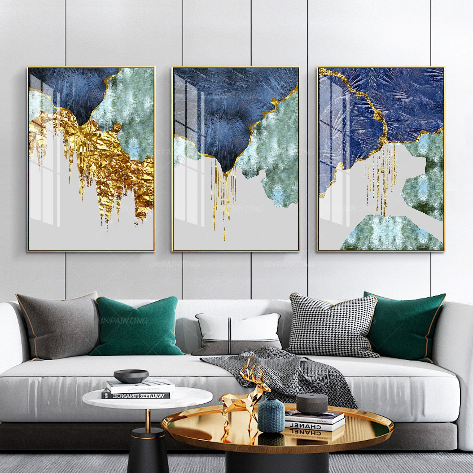 Framed Wall Art Set Of 3 Prints Geometric Gold Art Navy Blue Etsy In 2020 Frames On Wall Framed Wall Art Sets Large Wall Art