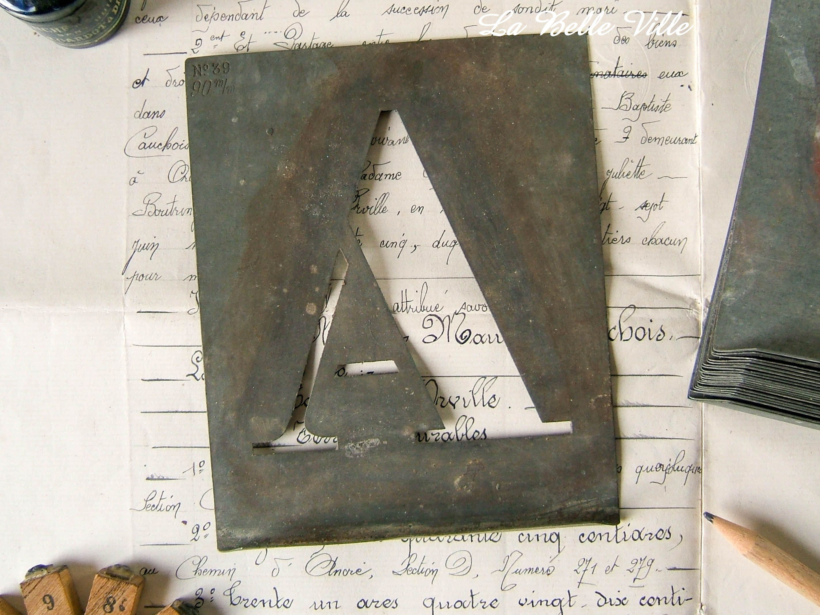 Vintage French alphabet stencils Large zinc