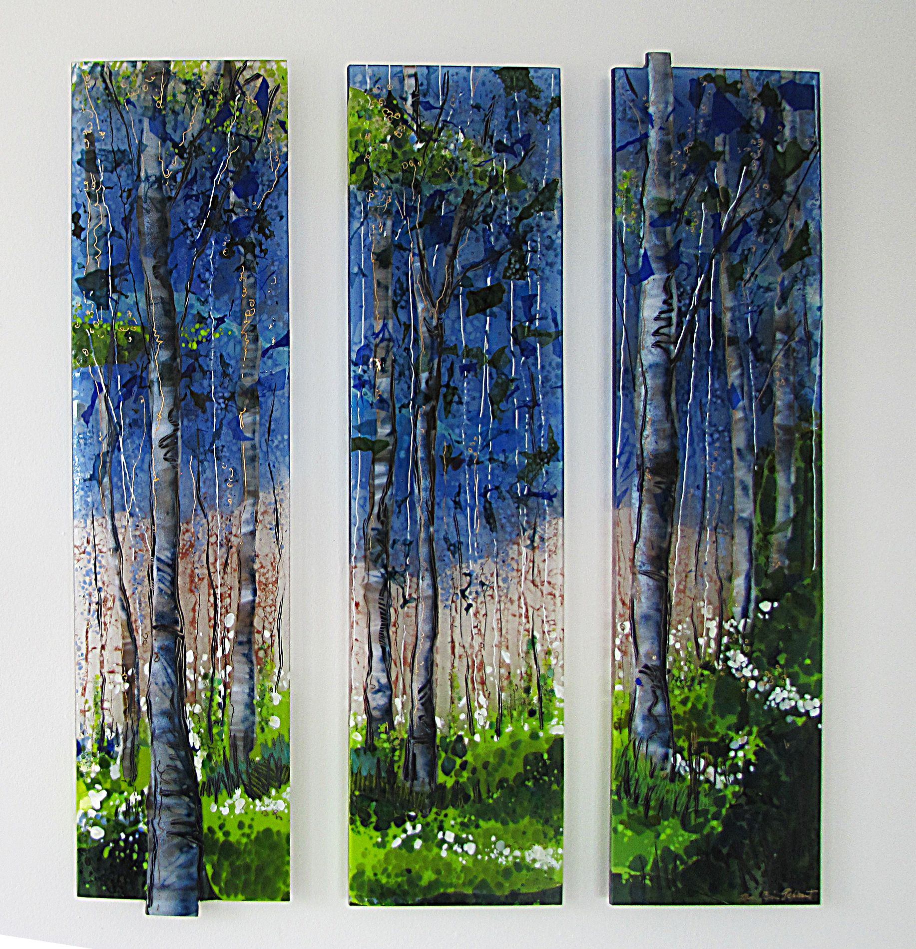 Tree Scape 3 Piece Fused Glass By Alice Benvie Gebhart Fused Glass Wall Art Glass Wall Sculpture Glass Wall Art