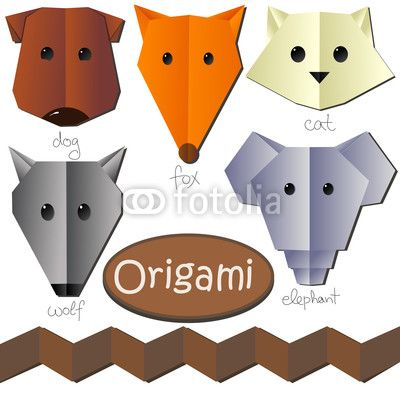 tete animaux theme origami papier pinterest origami origami animaux et origami chien. Black Bedroom Furniture Sets. Home Design Ideas