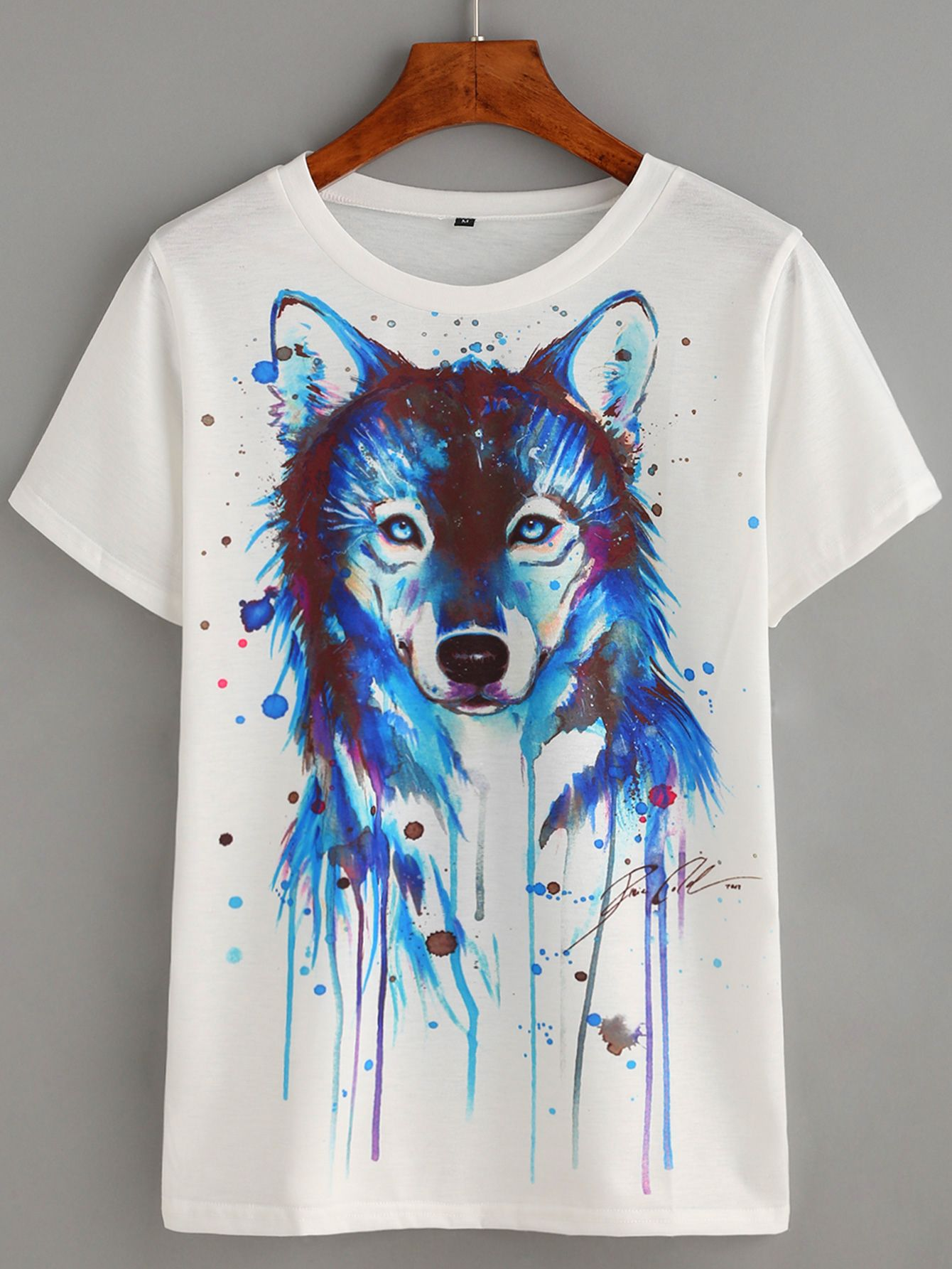 8c8f4510b4ea T-shirt Wolf-Kopf Druck -weiß- German SheIn(Sheinside)   Clothing ...