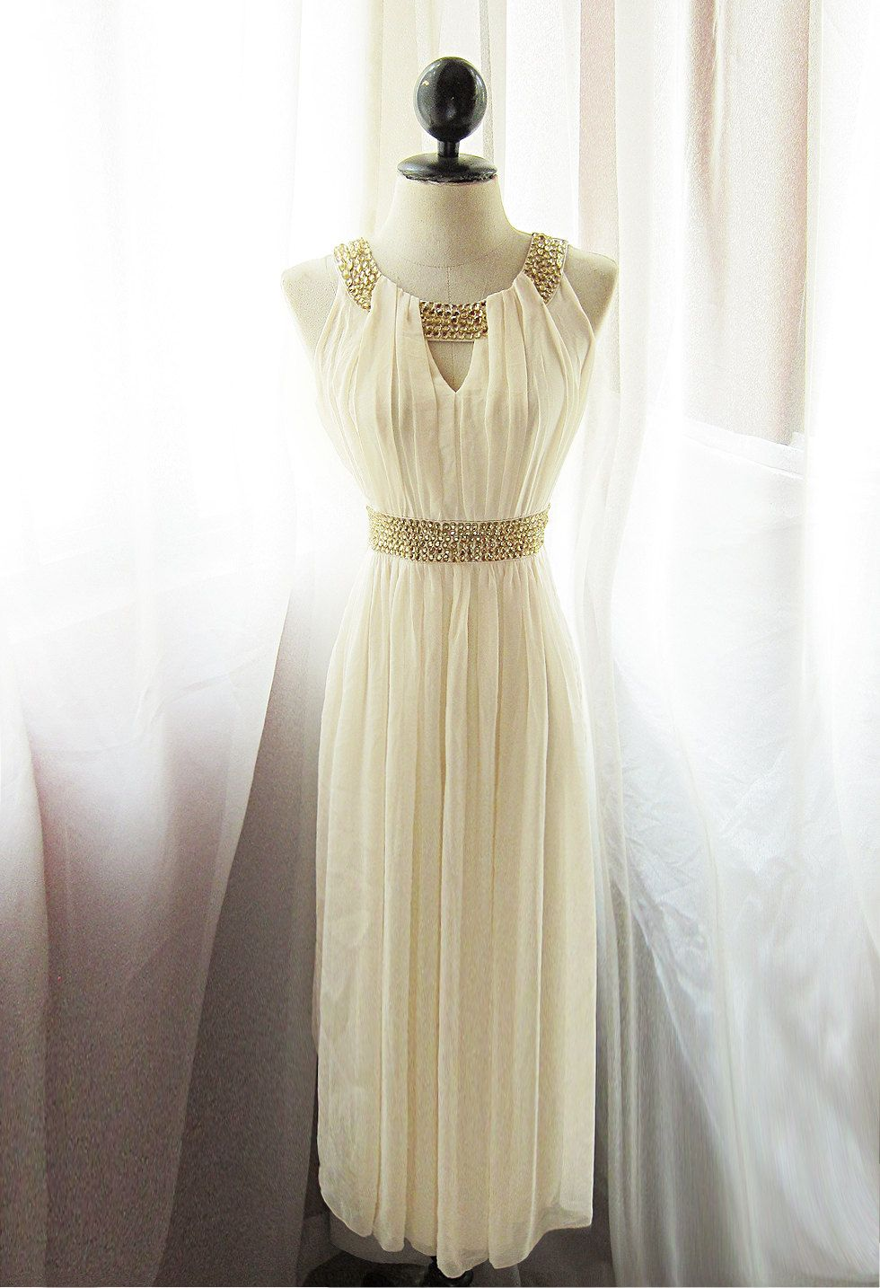 Egyptian Goddess Soft French Cream Chiffon Long by RiverOfRomansk, $188.50