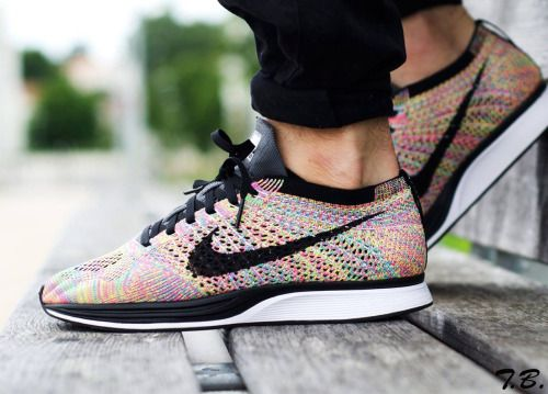 ... tumblr nike flyknit racer multicolor (by monkeydbrook) ...