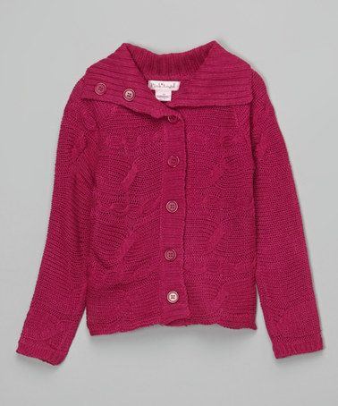55794fc1708 Loving this Fuchsia Berry Cable-Knit Collar Cardigan - Toddler   Girls on   zulily!  zulilyfinds