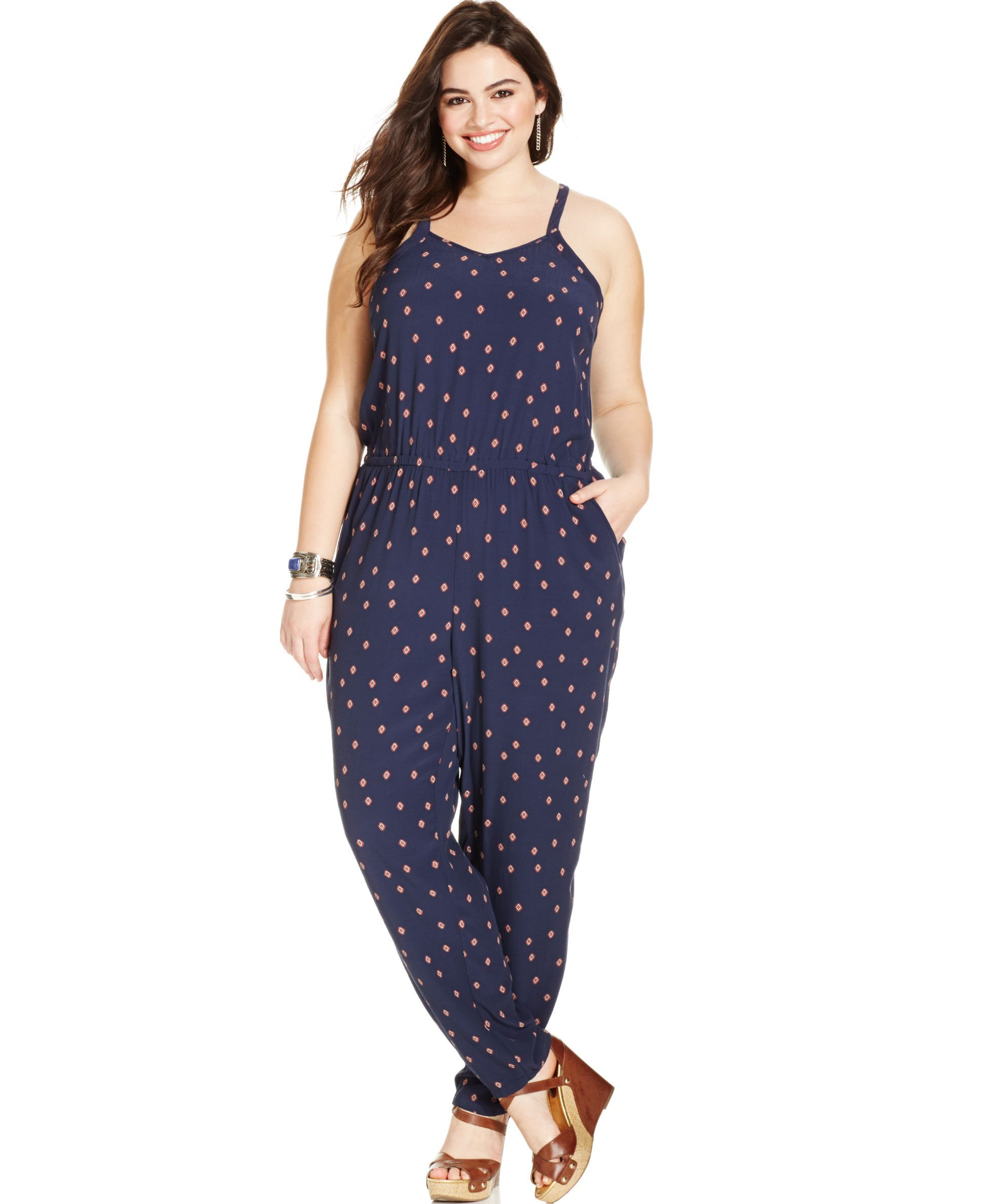 503930a91b3 Lucky Brand Plus Size V-Neck Geo-Print Jumpsuit