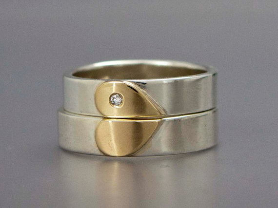 Diamond Heart Wedding Band Set in 14k Gold and by LichenAndLychee