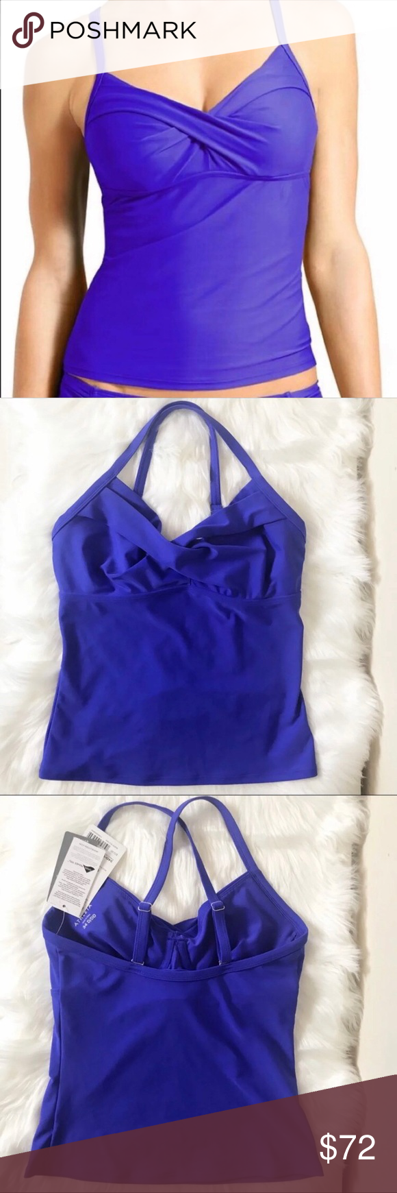 b147118465874 Athleta Twister Tankini Size 34 D/ DD NWT Athleta blue Twister Tankini. •  New with tags. • Size 34 D/DD • Made from Lycra spandex • 50+ SPF • Top  only ...