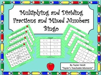 Multiplying and dividing fractions bingo game dividing fractions great way to review multiplying and dividing fractions in fourth and fifth grade my students ccuart Image collections