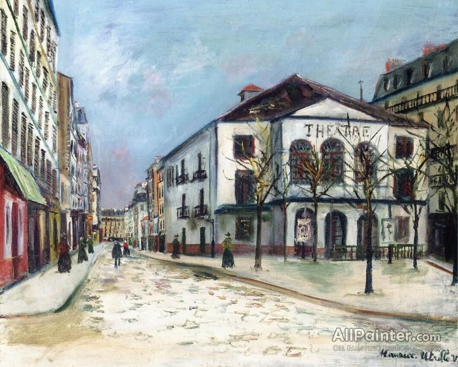Maurice Utrillo Théâtre De L'atelier In The Snow oil painting reproductions for sale