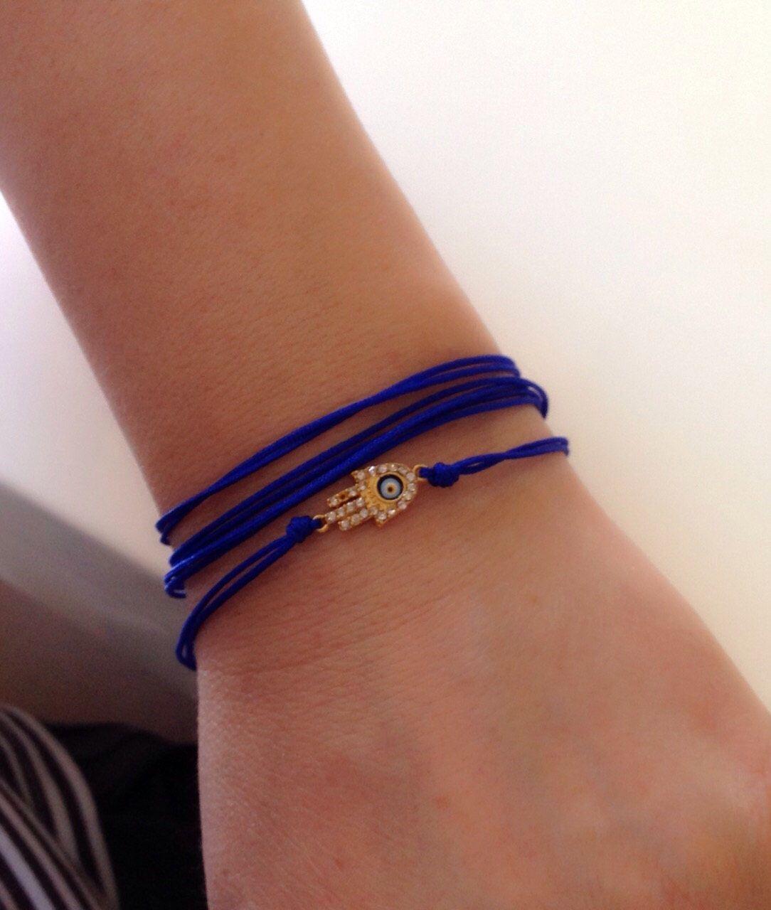 A personal favorite from my Etsy shop https://www.etsy.com/listing/230611065/cobalt-blue-string-evil-eye-braceletblue