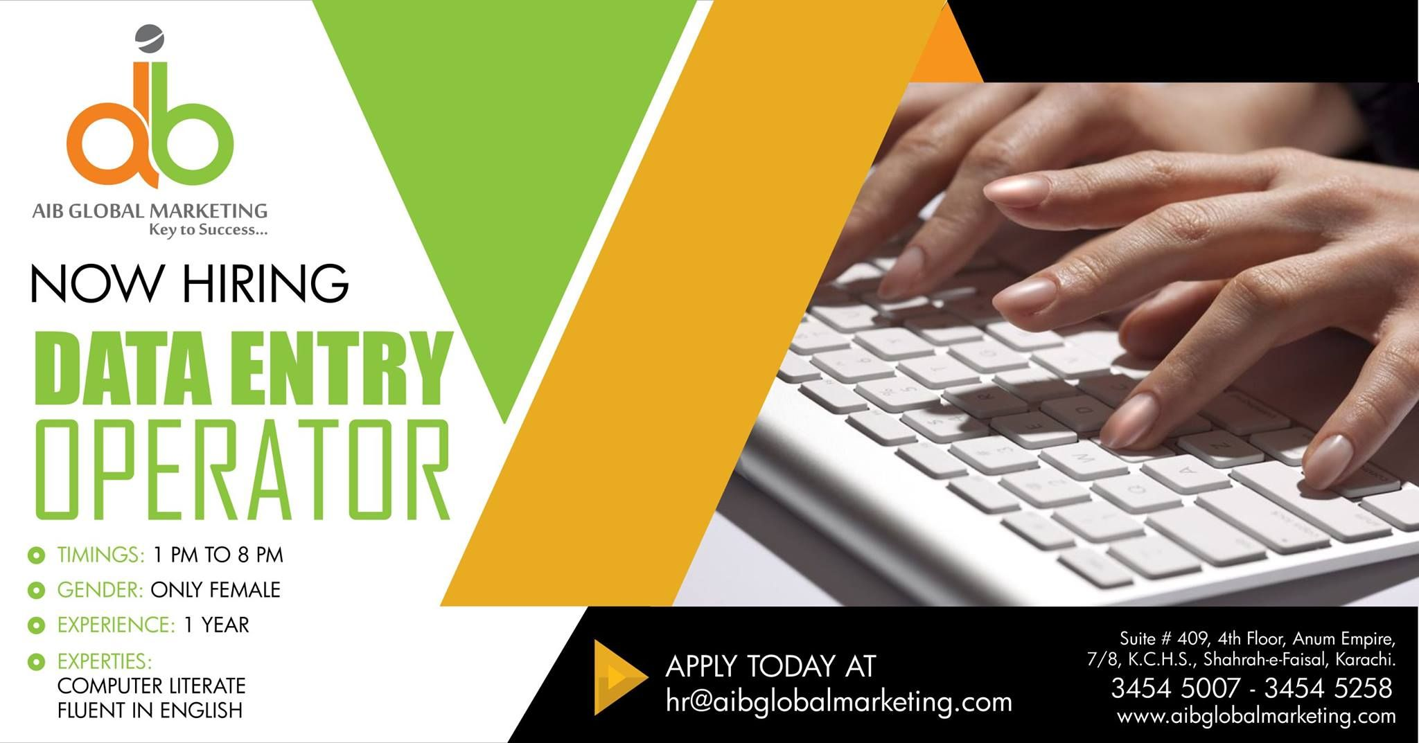 CAREER OPPORTUNITY | Position: Data Entry Operators