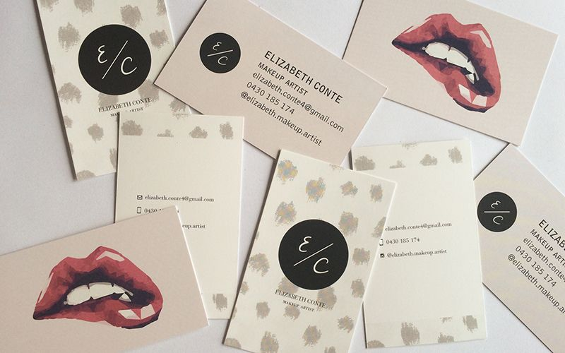 Elizabeth Conte Makeup Artist Business Card Design.  I like it. On trend, alluring and very memorable.