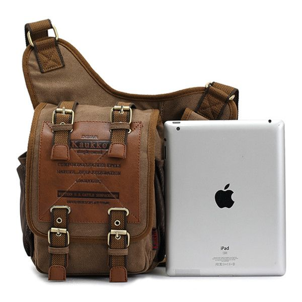 KAUKKO Men Retro Canvas Travel Shoulder Chest Messenger Bag | Bags ...