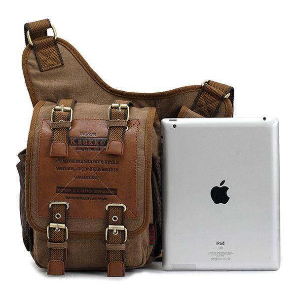 KAUKKO Men Retro Canvas Travel Shoulder Bags Messenger Bag ... 0ddcc35db2be8