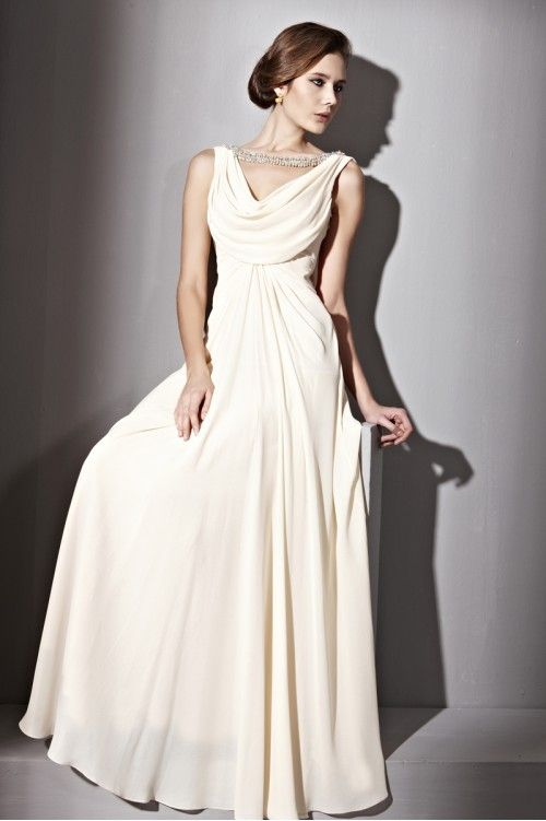 Beautiful Couture Cream Cowl Neck Silk Ball Gown - 2810903 ...
