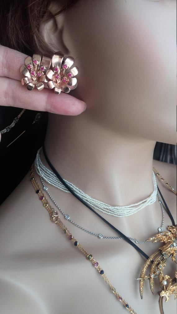 14k Rose Gold Ruby Flower Retro Clip On Earrings 14 Grams